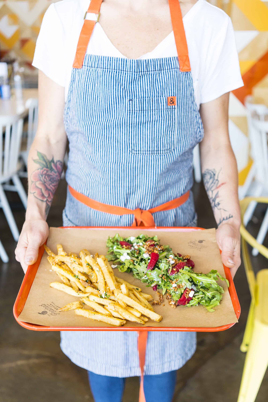 Fries + Salad at Peached Tortilla