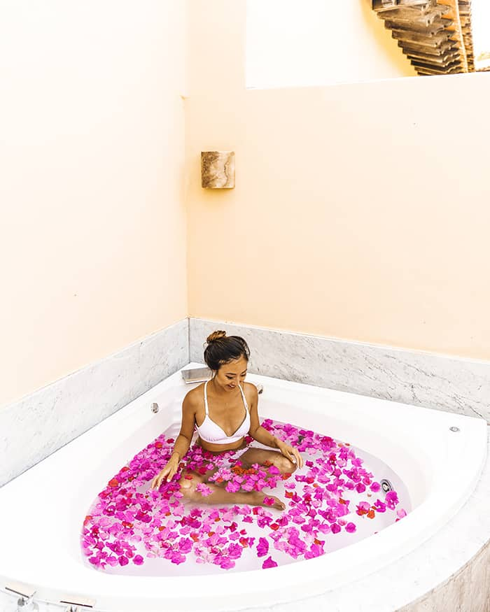 Flowers in jacuzzi